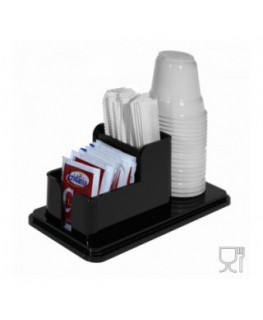 3-slot sugar packet, stir-stick and glass holder in black Plexiglass - CM(LxPxH): 18x8.5x7