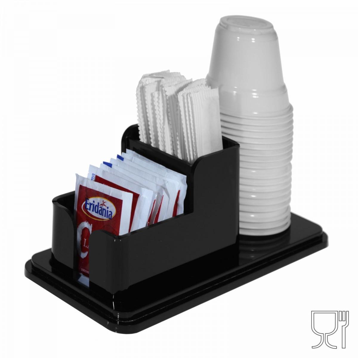 Expositor de sobres de azúcar, paletinas y vasos en plexiglás negro de 3 compartimentos