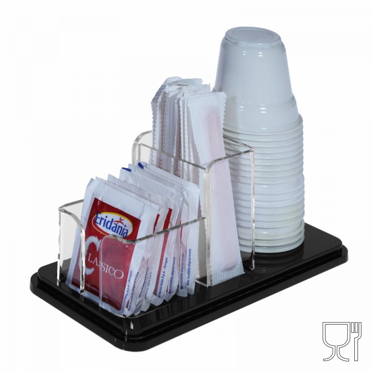 E-228 POB-L - Porta bustine zucchero, palette e bichieri in Plexiglass nero e trasparente a 3 postazioni - CM(LxPxH): 18x8.5x7