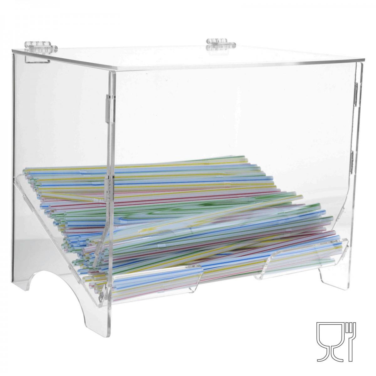 Prèsentoir acrylique pailles - Dimensions: 25 x 17 x H21cm