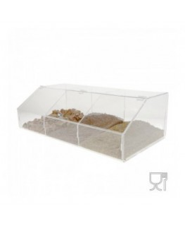 Clear acrylic vegetable dish with 3 compartments and door