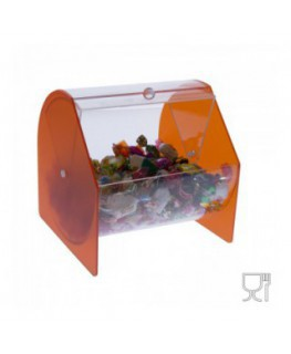Circular coloured acrylic candy and sweets bin