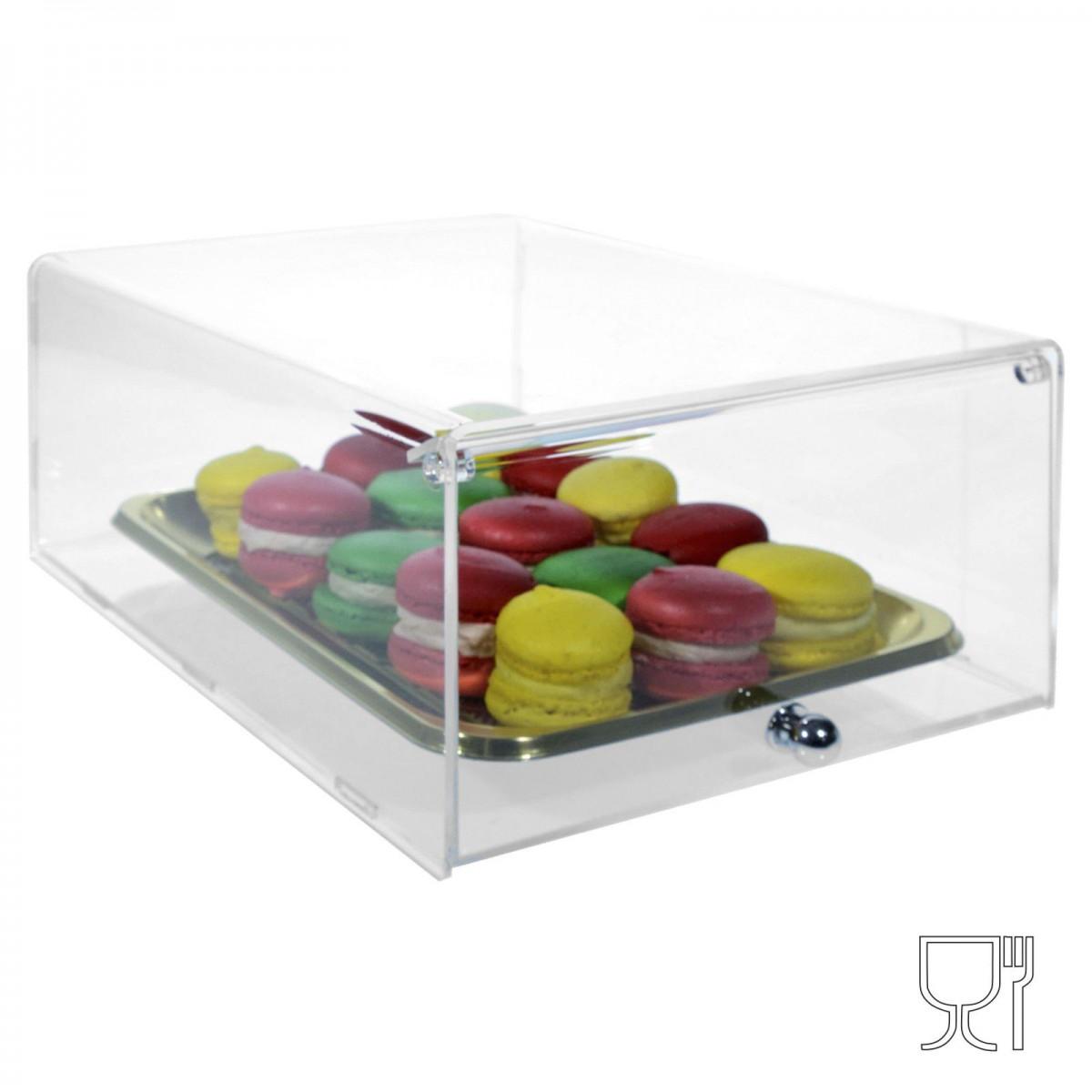 E-271 VET - Vetrinetta in plexiglass trasparente da banco a protezione degli alimenti - Misure: 22 x 31 x H12 cm