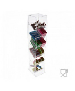 Clear Acrylic candy bin without reclosable opening – 6 shelves Dimensions: 6.7''W x 6.7''D x 28.74''T