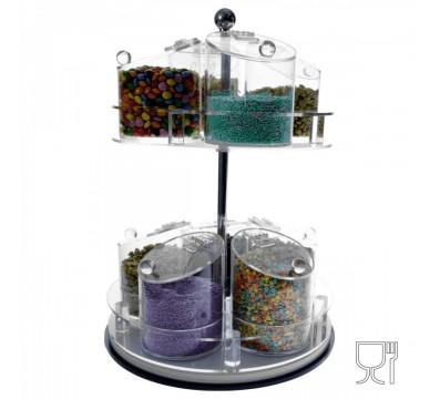 Konfekt-Schütte drehbar aus Plexiglas transparent mit 9 Behälter