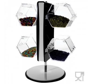 E-315 EPG - Porta graniglie girevole in plexiglass colorato con 4 contenitori trasparenti - Misure 28x28x H48 cm
