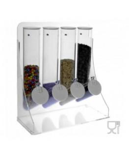 E-316 EPG - Porta graniglie in plexiglass colorato con 4 contenitori a tubo trasparenti - Misure 33x16x H38 cm