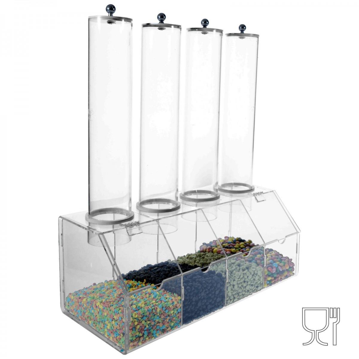 E-317 EPG - Porta graniglie in plexiglass trasparente con 4 contenitori a tubo trasparenti - Misure totale 38x16x H46 cm