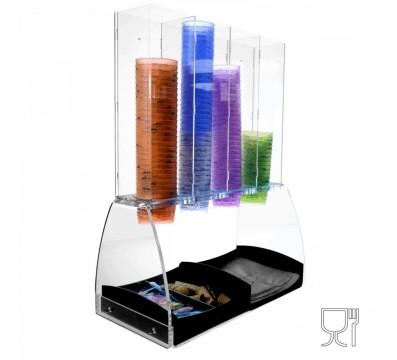 Eisbecherhalter aus Plexiglas, transparent, säulenförmig mit 4 Säulen