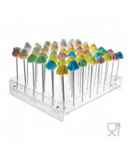Clear acrylic lollypop/cupcakes display – 48 compartments Dimensions: 15.35''Wx11.42''Dx2.76''T