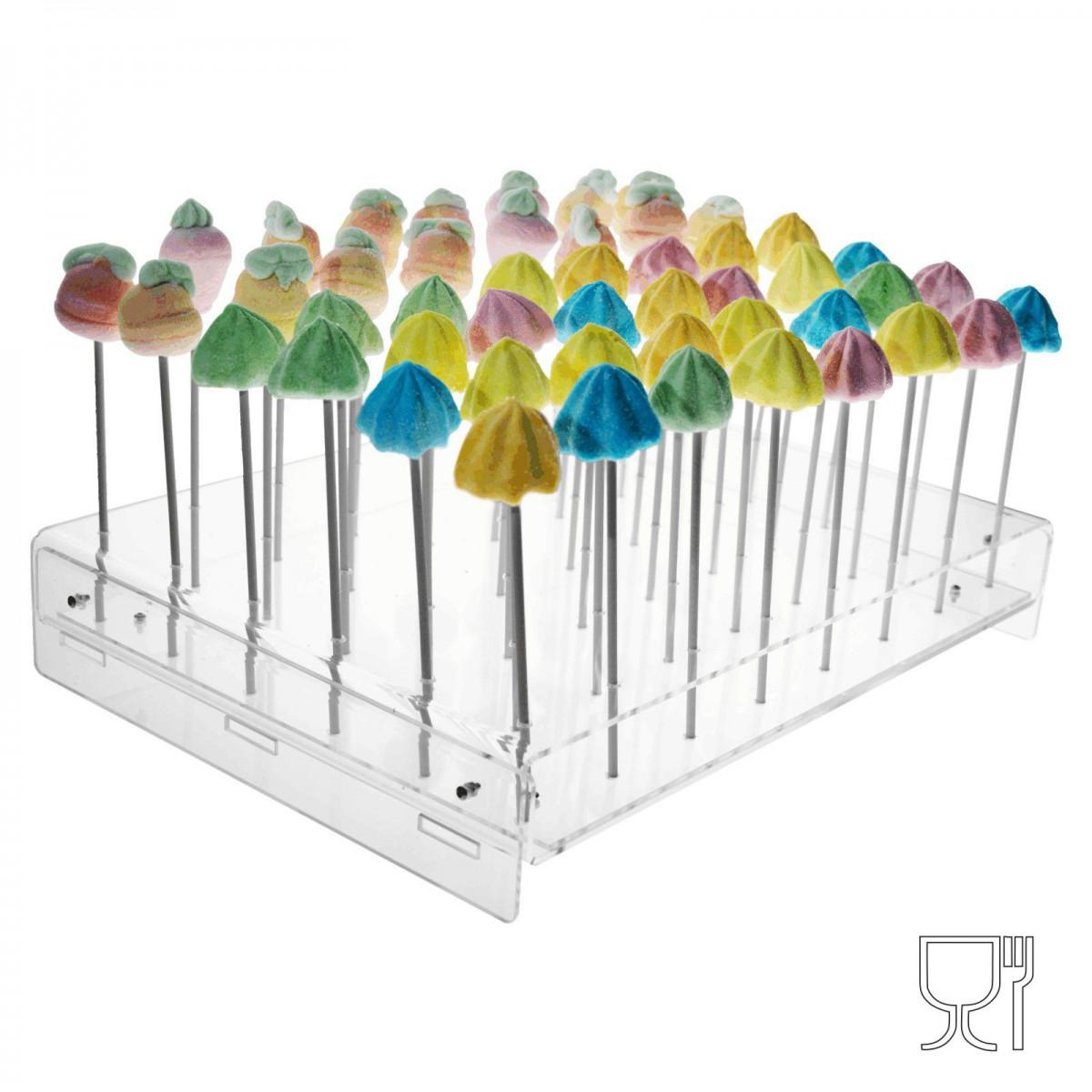 E-322 EPL - Porta Lollypops o cupcakes in plexiglass trasparente a 48 postazioni