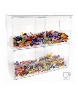 Clear acrylic candy display with door – 4 compartments Dimensions: 17.72''W x5.91''D x 16.14''T
