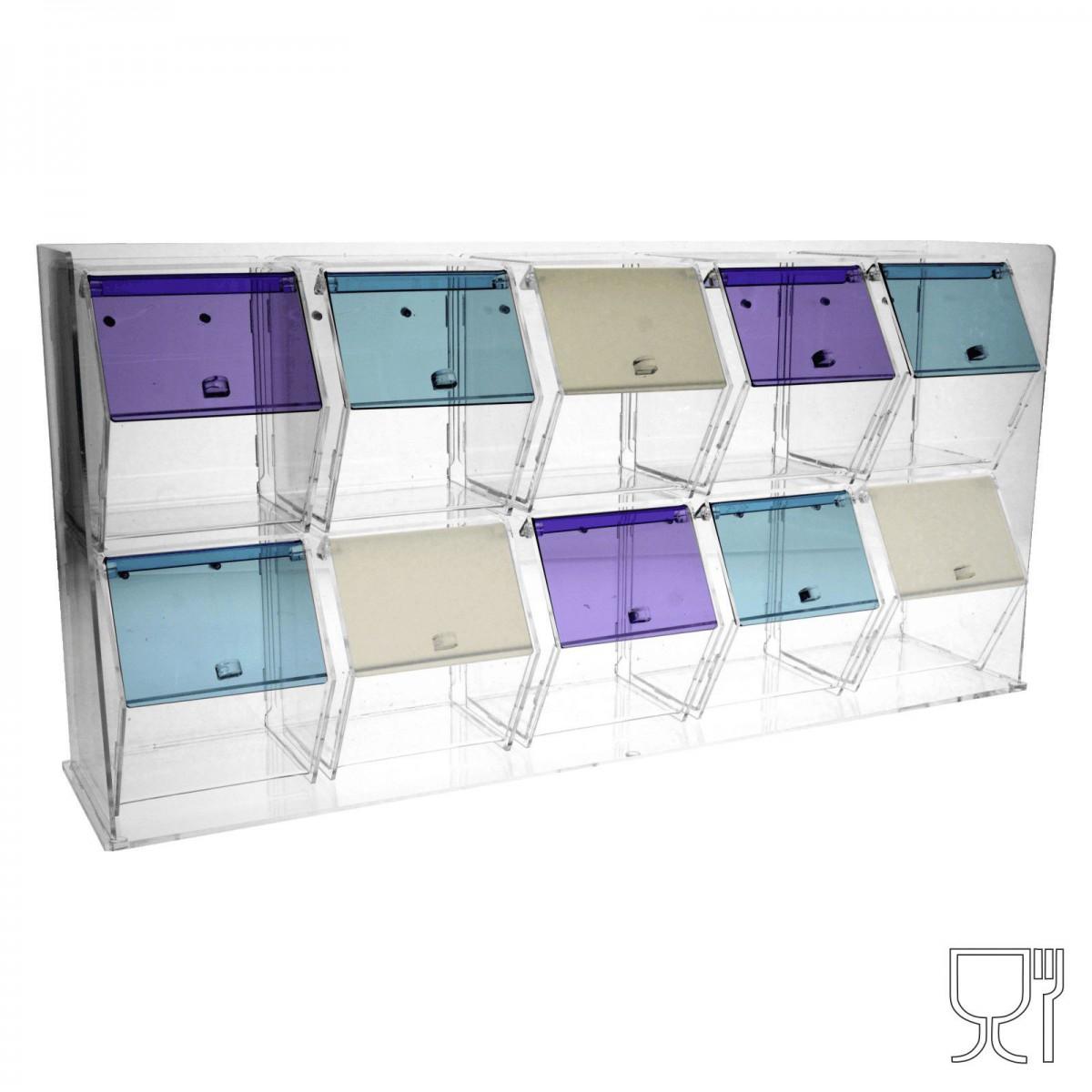 E-342 PGR - Porta granelle in plexiglass trasparente e colorato a 10 scomparti con sportelli