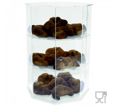 Octagonal acrylic countertop display case – 3 Compartments Dimensions: 13.4''Wx13.4''Dx19.3''T
