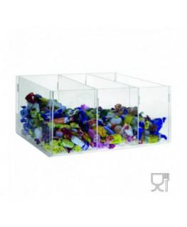 E-393 - Espositore in plexiglass trasparente da banco per caramelle e oggetti vari