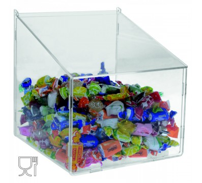 Clear acrylic trapezoidal candy bin with door