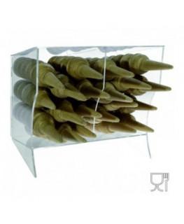 E-404 PCN - Porta coni in plexiglass trasparente orizzontale a 2 scomparti