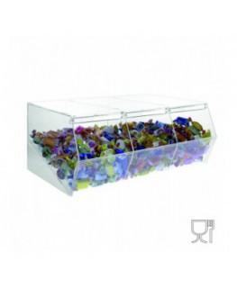 E-495 - Porta caramelle in plexiglass trasparente CON sportello e Ripiano Inclinato