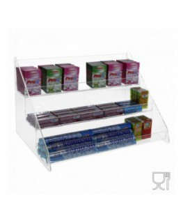 E-497 - Porta caramelle da banco in plexiglass trasparente Larghezza 36 cm.