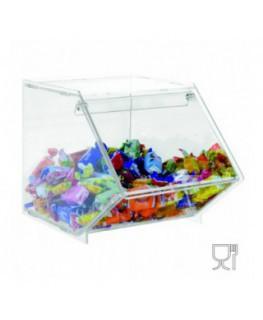 E-503 - Porta caramelle in plexiglass trasparente CON sportello e Ripiano Orizzontale