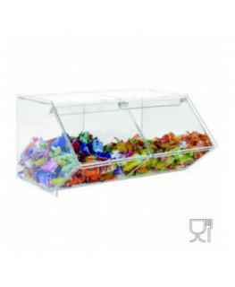 E-504 - Porta caramelle in plexiglass trasparente CON sportello e Ripiano Orizzontale