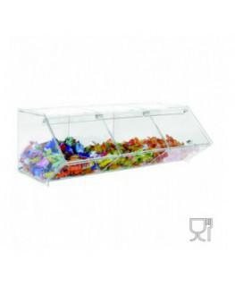 E-505 - Porta caramelle in plexiglass trasparente CON sportello e Ripiano Orizzontale