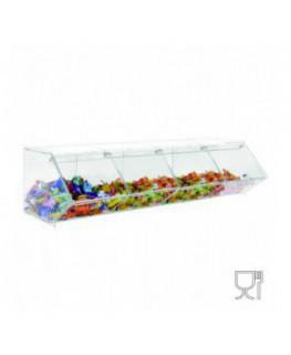 E-506 - Porta caramelle in plexiglass trasparente CON sportello e Ripiano Orizzontale
