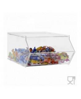 E-509 - Porta caramelle in plexiglass trasparente SENZA sportello con Ripiano Orizzontale
