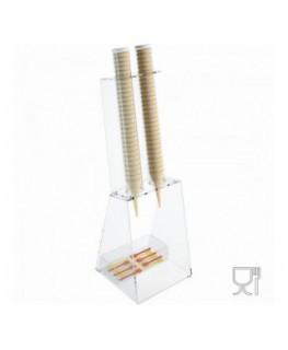 E-518 - Porta coni gelato da banco in plexiglass trasparente con porta cucchiaini - CM(LxPxH): 25x26x81