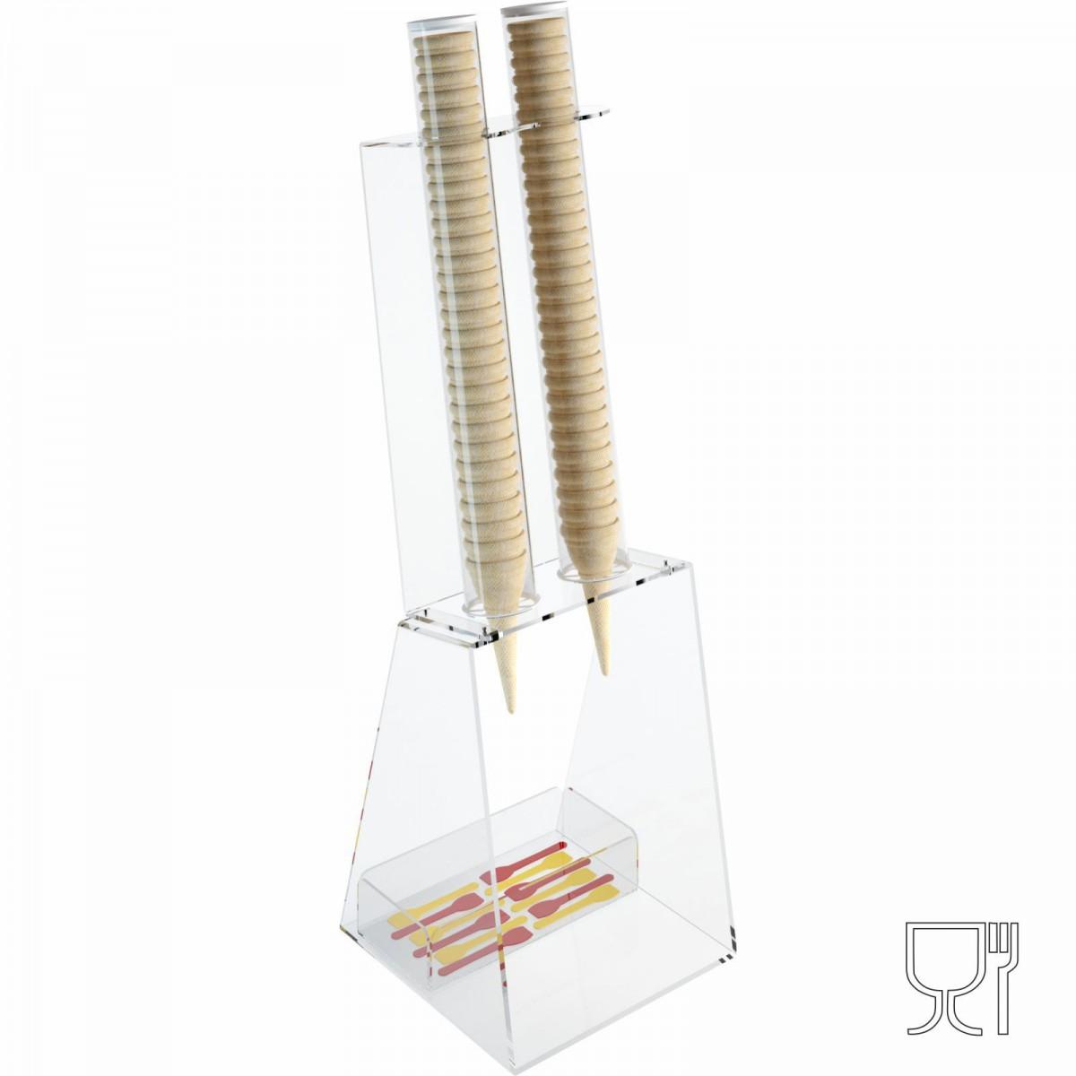 Porta coni gelato da banco in plexiglass trasparente con porta cucchiaini - CM(LxPxH): 25x26x81