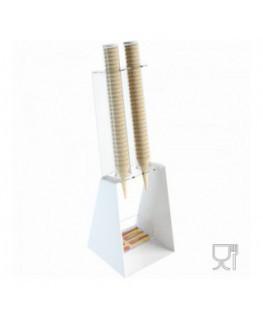 E-519 - Porta coni gelato da banco in plexiglass bianco con porta cucchiaini - CM(LxPxH): 25x26x81