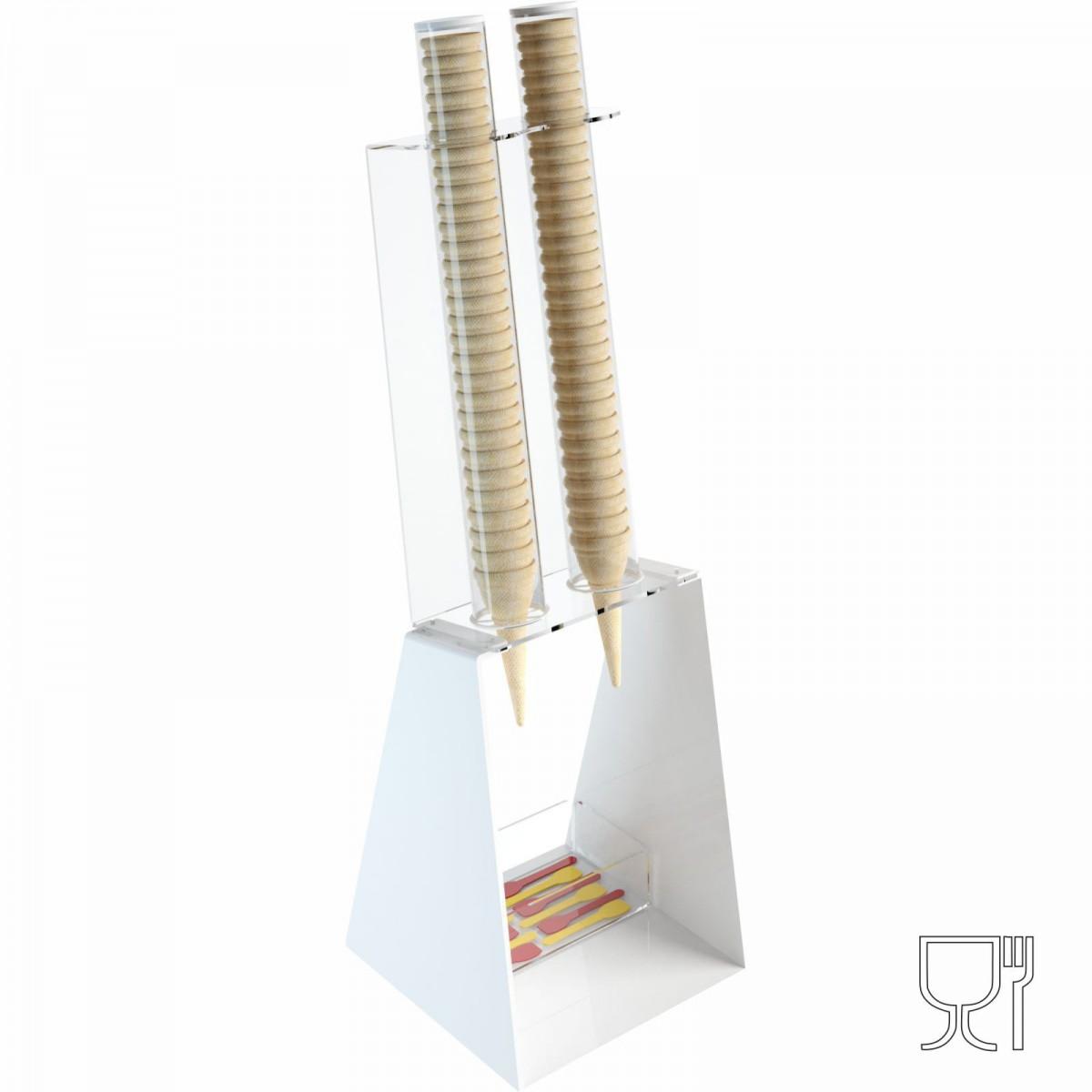 Porta coni gelato da banco in plexiglass bianco con porta cucchiaini - CM(LxPxH): 25x26x81