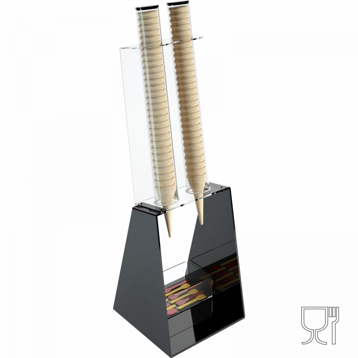 Porta coni gelato da banco in plexiglass nero con porta cucchiaini - CM(LxPxH): 25x26x81