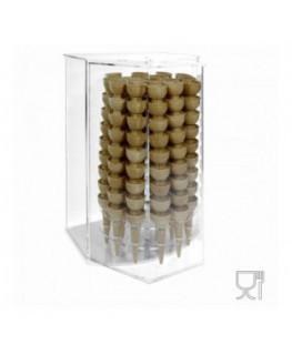 E-521 PCN - Porta coni gelato in plexiglass trasparente da banco con anta girevole a 18 fori - CM(LxPxH): 41x37x59