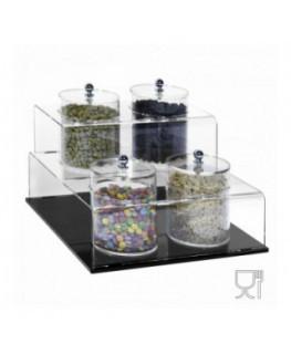 E-522 - Porta graniglie o granelle in plexiglass trasparente e base nera