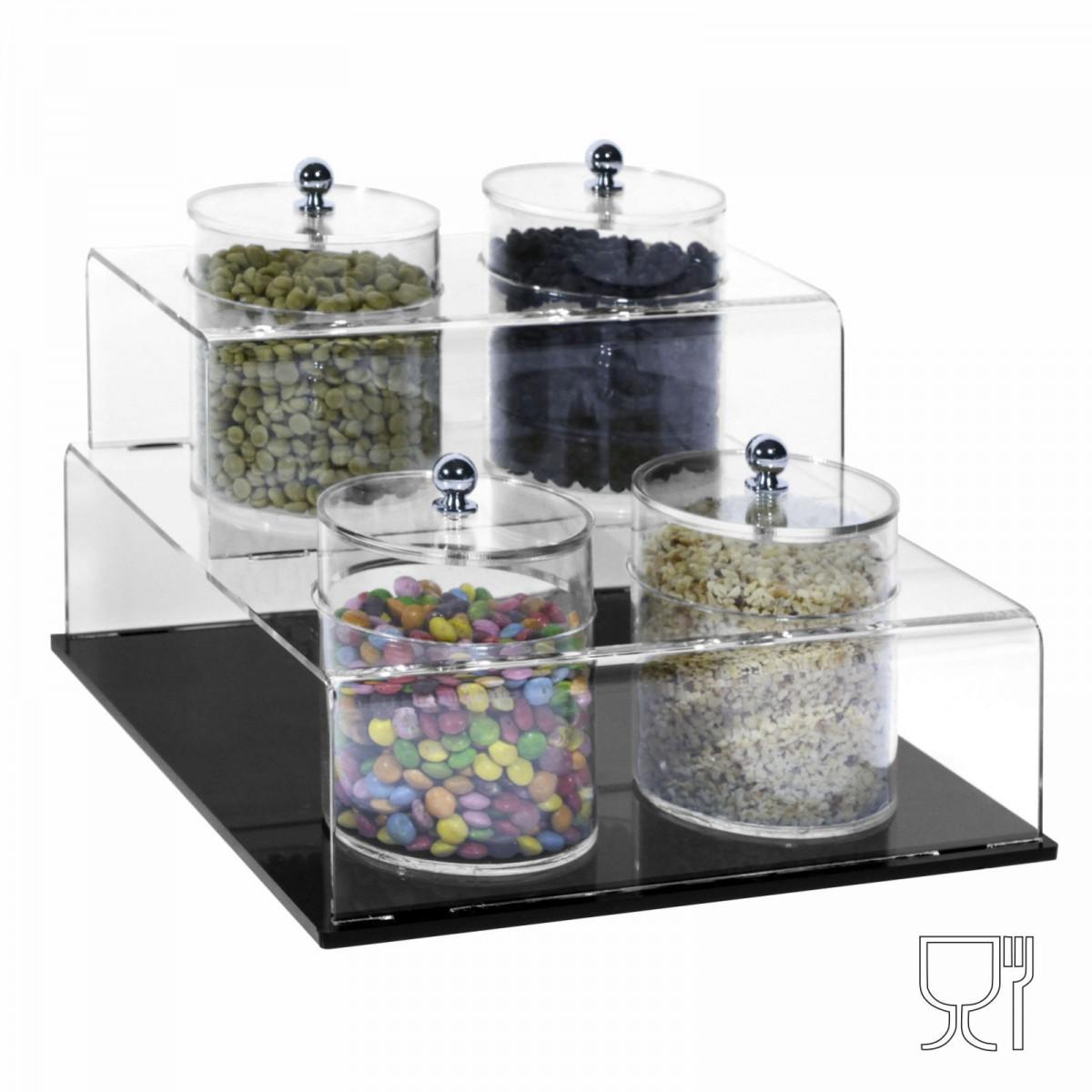 Prèsentoir pour grains de noisettes, pistaches etc. en plexi trasparent avec base noire et compartim