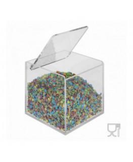 E-529 PSA - Porta granelle o caramelle capacità base quadrata con coperchio - CM(LxPxH): 10x10x10