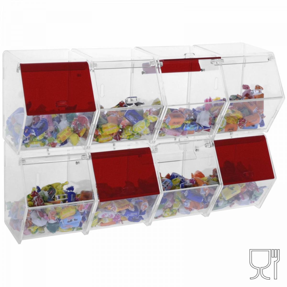 Contenedor para caramelos o granillas  con cajones 8 compartimentos con puerta