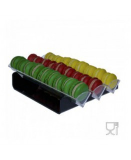 E-581 - Porta macaron in plexiglass nero e trasparente con Ripiano Orizzontale