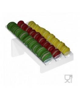 E-584 - Porta macaron in plexiglass bianco e trasparente con Ripiano Inclinato
