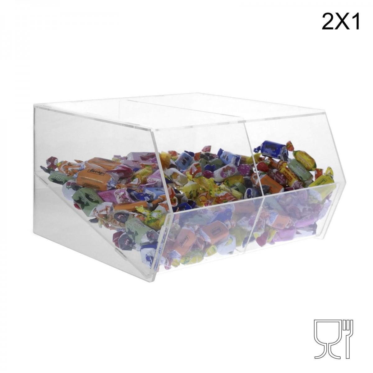 Porta caramelle  in plexiglass trasparente SENZA sportello con Ripiano Inclinato