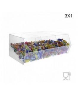 E-222 Ter - Porta caramelle in plexiglass trasparente SENZA sportello con Ripiano Inclinato