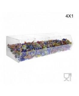 E-222 Quater - Porta caramelle in plexiglass trasparente SENZA sportello con Ripiano Inclinato