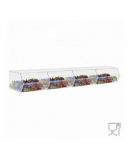 Clear acrylic candy bin withoutdoor and horizontal compartment