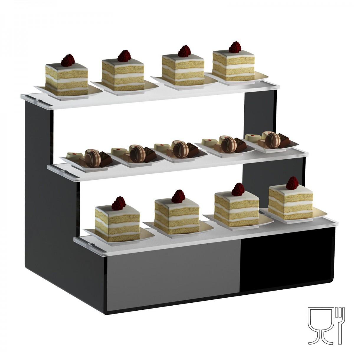 Alzate/Tavolino multiuso a 3 rpiani in plexiglass nero e ...