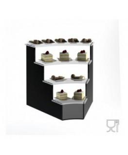 E-604 - Alzate/Tavolino multiuso a 4 rpiani in plexiglass nero e trasparente - Spessore 5 mm