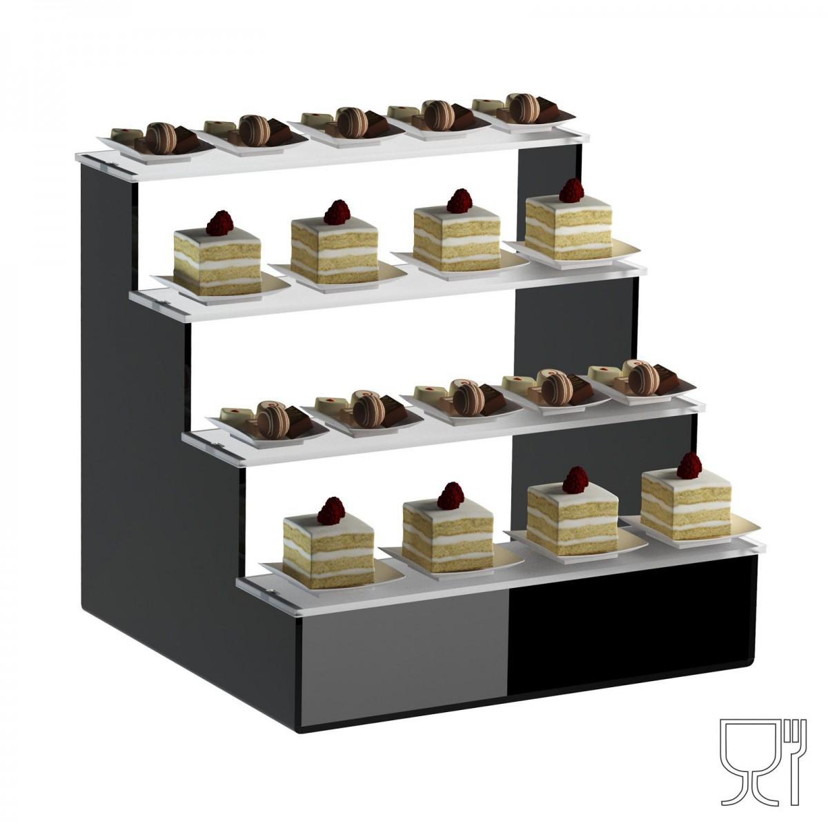 Alzate/Tavolino multiuso a 4 rpiani in plexiglass nero e ...