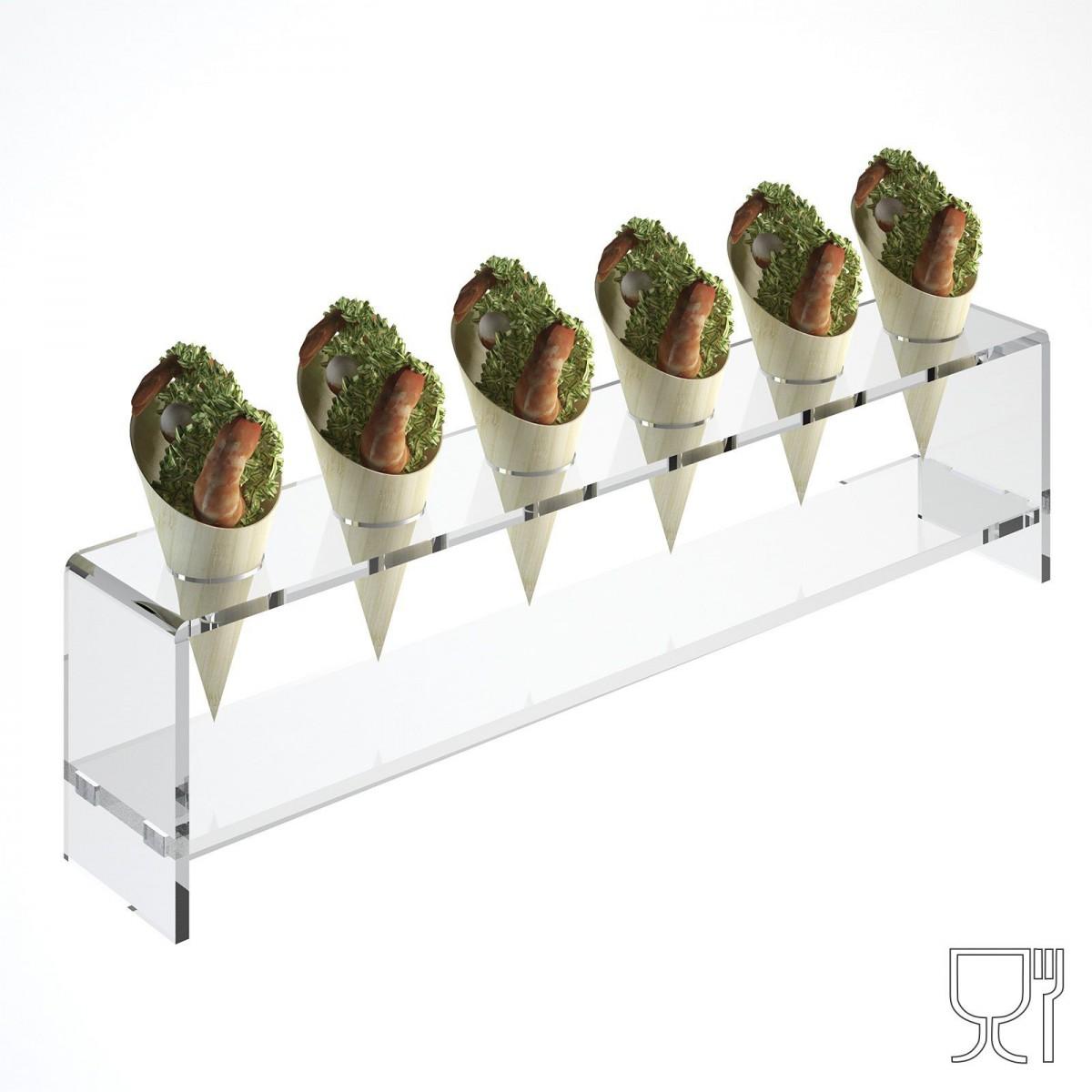 Alzate multiuso in plexiglass trasparente per finger food