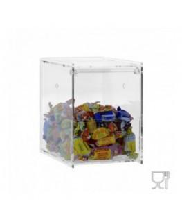 E-649 - Porta caramelle da banco o da parete in plexiglass trasparente CON sportello da affiancare l'uno con l'altro