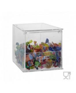 E-650 - Porta caramelle da banco o da parete in plexiglass trasparente CON sportello - Sovrapponibili